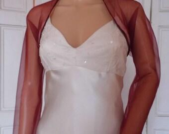 Burgundy organza  full length sleeved bolero/shrug/jacket  with satin edging