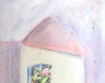 Garden Window mixed media collage and acrylic painting