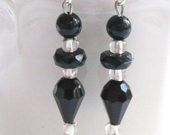 hd-Black Bead Dangle Earrings