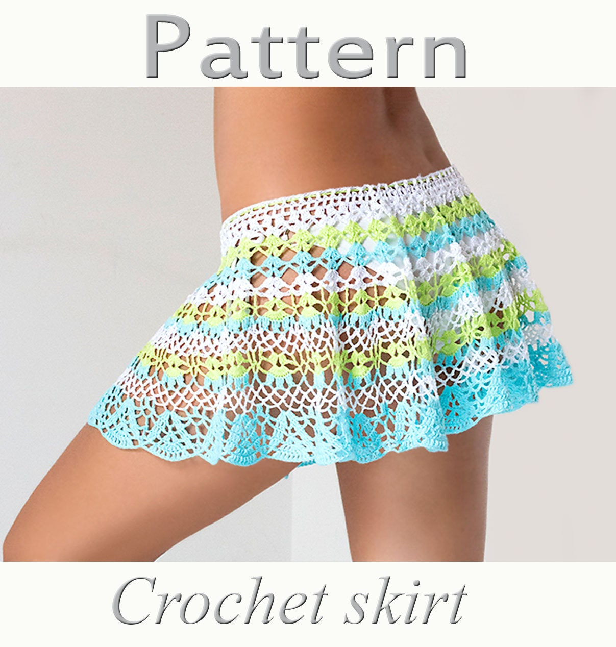 Crochet beach skirt PATTERN PDF crochet cover up from katrinshine on ...