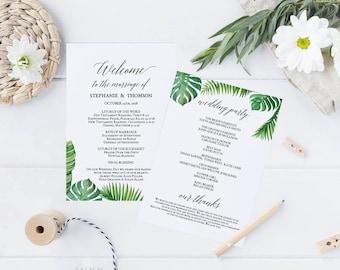 Printable Wedding Program, Wedding Program Template, Tropical Wedding, Ceremony Printable Template, Editable PDF Instant Download #E027