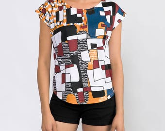 Multi Color Collage Geometric Print Graphic Tee