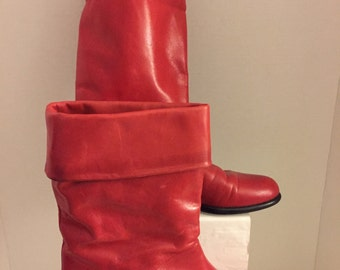 Vintage Red Leather Boot - Size 6 1/2