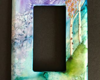 Aspen Trees on Teal & Purple Background - Switch Plate - Handpainted Wall Decor--