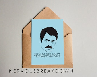 Ron Swanson Birthday Card - PRINTABLE CARD