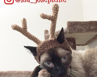 Handmade Crochet Reindeer Hat for Cats