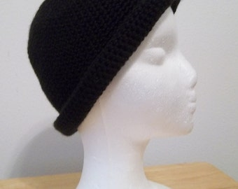 Hat - Crochet Hat with Roll-Up Brim in Black