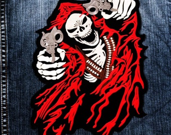 LARGE SIZE Grim Reaper Two Gun God of Death Ghost Devil Jacket Sew Iron on Patch