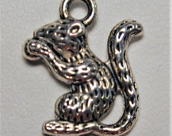 6pc Antique Silver Squirrel Charms C190