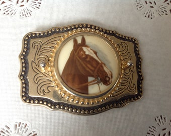 Western Buckle with Horse Head