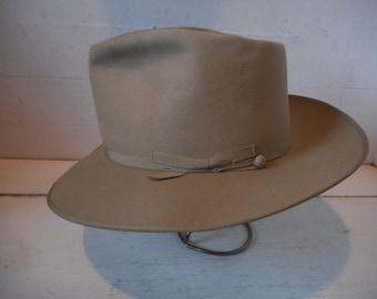 Beautiful Vintage 50's BORSALINO ALESSANDRIA, Tan, 7 fits to 7 1/8th