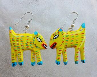 Hand Painted Statement Earrings, Colorful Tribal Earrings, Coyote, Animal Earrings, Paper Machet, Yellow Earrings