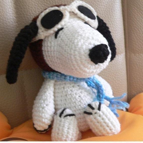 Amigurumi Pilot Snoopy Welpen Hund Häkelmuster Weihnachten