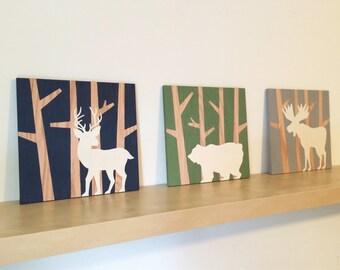 Woodland Nursery Set - Woodland Animals - Forest Nursery Decor - Bear Nursery Art - Moose Nursery Decor - Deer Nursery Art - Rustic Nursery