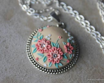 Gorgeous Polymer Clay Applique Statement Pendant Necklace in Peach, Mint and Beige