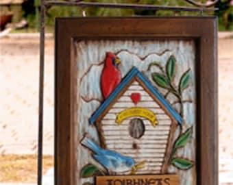 Bird house Hanging Yard Sign and Yard Stake