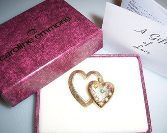 Vintage Caroline Emmons Mother's Rhinestone Faux Pearl Double Heart Pin Brooch In Original Box