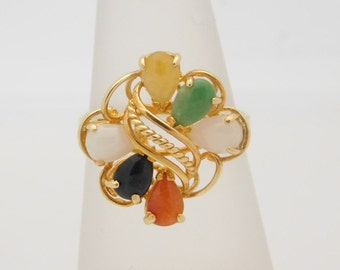 14K Yellow Gold Multi-Colored Assorted Birthstone Ring