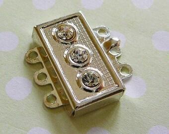 Vintage .. Clear Crystal 3 Strand Rectangular Clasp