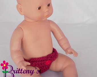 Baby Doll Clothes Crochet Baby Doll Diaper Set Crochet Baby Pink Doll Diapers Baby Doll Clothing Four Doll Diapers 13-14 inch Size