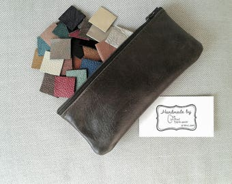 Pouch, Zipper Pouch, Zip Pouch, Leather Zipper Pouch, Leather Zip Pouch, Pencil Case, Pencil Case Leather, Leather Zip Pouch, Pencil Case