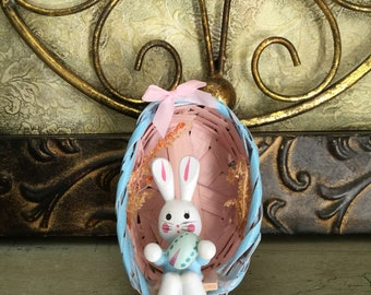 EGGCELENT Wooden bunny rabbit in basket vintage EASTER DECORATION