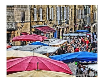 Fine Art Digital Print of Market Day in the French Village of Sarlat in Suouthern France