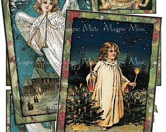 Instant Download - Christmas Angels and Cherubs Collage Sheet - Cards - Postcards - Holiday - Digital Download - Angels - Printable