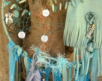 Dream Catcher for December Birthstone Amazonite Large Tree of Life Dream Catcher, Can be personalized as Your Family Tree