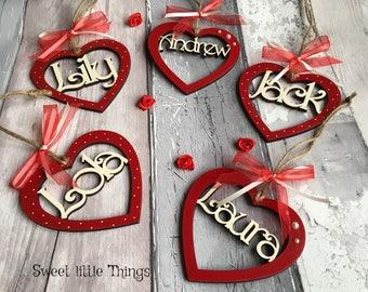 Hearts, hanging hearts, valentine hearts, personalised, cream polka dots and ribbon, valentine gift