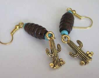 Southwestern Earrings, Cactus, Pewter, Tribal Jewelry, Western Jewelry, Gold Dangle Earrings, Cowboy, Unisex
