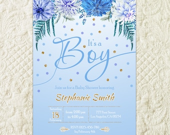 Whimsical Boy Baby Shower Invitation, Watercolor Floral Baby Boy Shower Invitation, Floral Baby Boy Shower Invite, Calligraphy Baby Shower