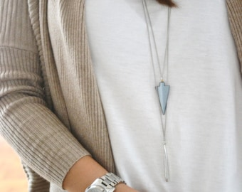 LAYERING NECKLACE - Silver Metal Drop - Triangle Hematite