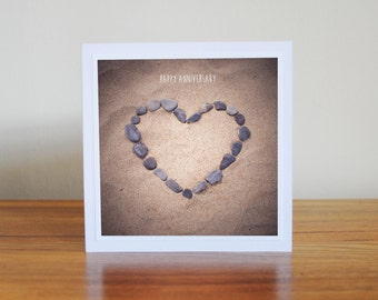 happy anniversary card, beach print, vintage style card, gifts for him, gifts for her, heart card, pebbles on the beach, romantic card