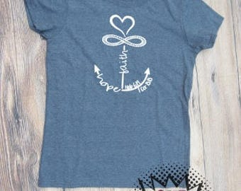 Anchor T-shirt Adult Hope Faith Religious Sea Ocean Vinyl