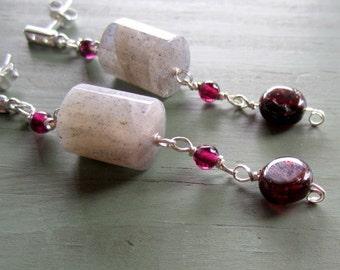 Labradorite Garnet Earrings - Red Jewellery - Sterling Silver Jewelry - January Birthstone - Natural Gemstone - CZ Studs Gray Grey ER-79