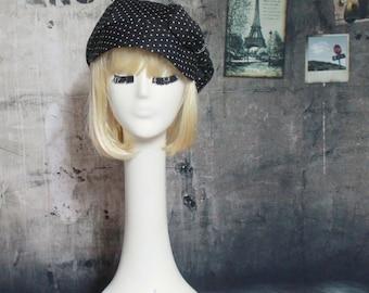 Polka Dot Newsboy Cap, Black &White Newsboy Cap, Newsboy Cap Bow, Polka Dot Hat Bow, Beret Hat Bow, Sun Hat, Summer Hat