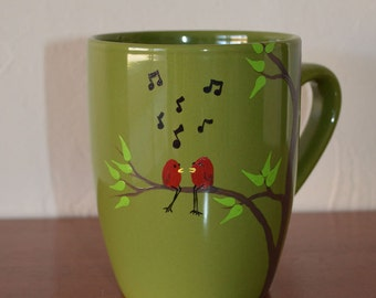 LOVE BIRDS Porcelain Coffee Mug with Birds Singing in a Tree Hand Painted Coffee Tea Cocoa Olive Green Made to Order Mug