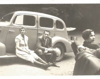 "Vintage Snapshot ""Rest Stop"" Road Trip Old Photo Couples Found Vernacular Photo"