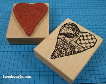 Blackbird Heart Stamp / Invoke Arts Collage Rubber Stamps