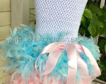 Aqua pink feather tutu dress, tutu, girls dress, girls tutu, feather tutu, clothing, girls clothing, girls costume, feather dress, costume