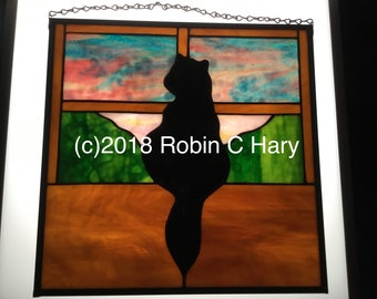 Window Cat Panel in Stained Glass