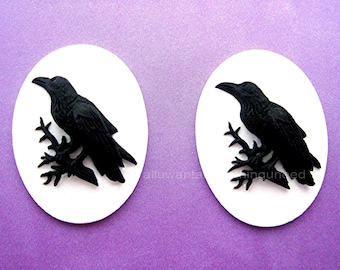 2 Gothic Black on Bright White Crow Raven Blackbird Black Bird Witch Wiccan Voodoo Goth Emo 40mm x 30mm Resin CAMEOS LOT for Costume Jewelry