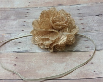 Champagne Headband, Baby Flower Headbands,  Burlap Headband, Baby Hair Headbands,Newborn Photo Prop, Skinny Elastic Headbands, Girls Hair