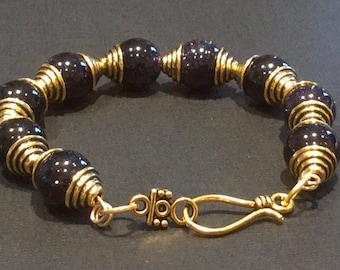 Celestial/Jewelry/Bracelet/Gift Her The STARS Shooting Star Bracelet/Midnight Blue Goldstone Galaxy Staras Blue Sand Sun Sitara