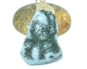 Great 45x20mm blue green druzy quartz pendant