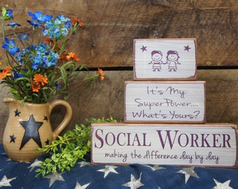 Great Social Worker Gift 3 Pc Block Set  - Personalized free Several Color Options Fast Ship Therapist Nurse Teacher