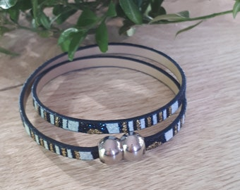 cornflower blue leather bracelet