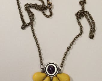 Yellow Turquoise Beads Bronze Necklace with Amethyst