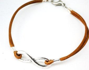 Camel colored leather infinity bracelet